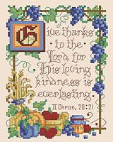 This scripture excerpt, which speaks of the Lords loving kindness, is depicted in a gorgeous design by Sandy Orton.  The border has a bountiful harvest feel of classic illuminated style reminiscent of a storybook design.