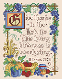 II Chronicles 20:21 - PDF: This scripture excerpt, which speaks of the Lords loving kindness, is depicted in a gorgeous design by Sandy Orton.  The border has a bountiful harvest feel of classic illuminated style reminiscent of a storybook design.