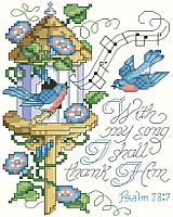 """With my song I shall thank Him."" This charming and lilting scripture of thanksgiving makes a sweet song on this little design of bluebirds and morning glories. Trendy birds and birdhouses make this an up-to-date design for bird lovers everywhere."