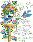 "Psalm 28:7 - PDF: ""With my song I shall thank Him."" This charming and lilting scripture of thanksgiving makes a sweet song on this little design of bluebirds and morning glories. Trendy birds and birdhouses make this an up-to-date design for bird lovers everywhere."