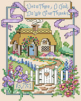 "A lovely garden gate, meandering path and cozy cottage calls to you: ""Unto Thee, O God, Do We Give Thanks."" Springtime is a season of rebirth and this classic scripture of thanksgiving will inspire all year long."