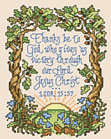 "This small depiction of scripture 1 Corinthians 15:57 ""Thanks be to God, who gives us victory through our Lord Jesus Christ"" is lovingly portrayed with mighty oak trees encircling the rising sun. This design by Sandy Orton is sure to inspire."