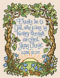 "1 Corinthians 15:57 - PDF: This small depiction of scripture 1 Corinthians 15:57 ""Thanks be to God, who gives us victory through our Lord Jesus Christ"" is lovingly portrayed with mighty oak trees encircling the rising sun. This design by Sandy Orton is sure to inspire."