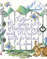 "This lovely spring garden gate calls to you: ""Enter His gates with Thanksgiving and His court with praise."" Springtime is a season of rebirth and this classic scripture of thanksgiving will inspire all year long."