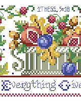 A great companion piece to Jeremiah 33:11, #1503, this classic Americana sampler style design says it all: In Everything Give Thanks. The bountiful harvest represented in the design captures the spirit of the verse.