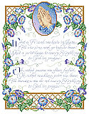 What a Friend We Have in Jesus - PDF: Morning glories and praying hands encircle this gospel hymn written by Irishman Joseph Scriven in 1857. Scriven relocated to Port Hope, Ontario, Canada and was so beloved that he has a monument dedicated to his memory. This design elegantly illustrates Scriven's devoted words.