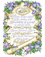"Heart-warming, ""Home Sweet Home"" and Morning Glory Sampler. Sandy Orton brightens the day and the home with this parchment-like sampler in Counted Cross-Stitch."