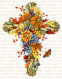 Fall Floral Cross - PDF: A beautiful reminder of one's faith.