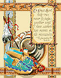 "In His Moccasins - PDF: ""O Great Spirit, help me never to judge another until I have walked two moons in his moccasins,""  words of E. Laughing Fox Wells. From the legends of Navajo history and lore comes this Counted Cross-Stitch design rich in verse, symbols, and motif in the warm reds, turquoise blues, and desert sand colors of the Southwest."