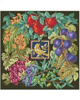 Seven different plants that are symbolic of the Jewish faith are depicted in this lovely design by Nancy Rossi. The motif in the center of the design is the Partridge. This may be worked in Counted Cross Stitch or Needlepoint and finished in a variety of ways to make that special heirloom piece.
