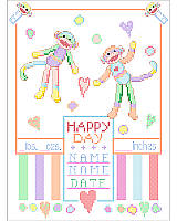Baby Monkey Sampler Have a lovely permanent record of your baby's birth. These cheerful monkeys will announce it to the world!