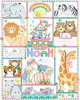 """And the Animals Came Two by Two"". Noah's Ark is the theme of this whimsical birth record. Designed by Linda Gillum, it features pairs of your favorite animals. From Bees to Zebras, they are ready to declare Baby's arrival."