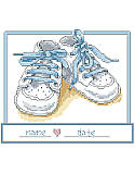 Baby Boy Shoes - PDF: Share the joy in the pitter-patter of new little feet with this cross stitch nursery art featuring a pair of blue baby booties. This classic newborn gift can be personalized with the baby's name and birthdate.