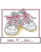 Share the joy in the pitter-patter of new little feet with this cross stitch nursery art featuring a pair of pink baby booties. This newborn gift can be personalized with the baby's name and birth date.