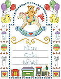Rocking Horse Birth Record - PDF: Commemorate a very special date with this brightly colored boy's birth announcement. Framed with rubber ducks, rocking horse, train and charming toys. Designed with plenty of space to customize it using a newborn's details, it makes a wonderful memento and charming piece of nursery décor.