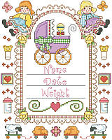 Commemorate a very special date with this brightly colored birth announcement. Framed with dollies, baby carriage, butterflies and other charming toys. Designed with plenty of space to customize it using a newborn's details, it makes a wonderful memento and charming piece of nursery décor.