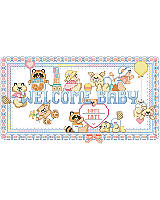 "Beavers and bears and raccoons, oh my! Sweet baby animals adorn this ""Welcome Baby"" sign perfectly suited to celebrate a little one's arrival. Personalize for an adorable gift for any new mom to brighten a nursery."