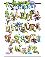 Spiders and worms and snakes, oh my! Make playtime the creepy-crawliest with this alphabet squirming with slimy creatures! Perfect for little boys room and name sign. Featuring darling details in each delightful letter, this fun cross stitch makes the perfect gift for your little entomologist!