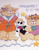 Heavenly Bunnies Stamped Cross Stitch Birth Record