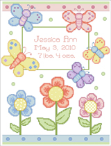 Decorate your nursery with this sweet counted cross stitch chart Butterfly Birth Announcement by Linda Gillum.