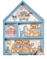 A charming Noah's Ark tops this Baby Birth Record hutch