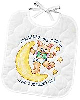 "Wearing Moonbeams, celebrate a newborn's arrival ""I see the Moon and the Moon sees me!"" and ""God bless the Moon and God bless me"" bibs, ready to dine on all kinds of baby goodies! Eat and drink and the moonbeams absorb all drips and drools on these two brightly colored Stamped Cross-Stitch bibs."