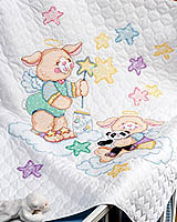 Playful nursery bunnies blowing star bubbles in honor of your newborn!