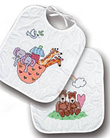 Noah's Ark Bibs are full of fun with the brightly colored animals. Design includes a cheery rainbow with sunshine smiles that will surely bring a smile to your young eater.