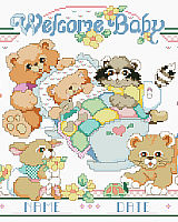 Baby woodland animals surround Baby's cradle