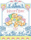 Bears On Toile Birth Record - PDF: Bear on Toile is a delightful interpretation of traditional monochromatic toile style. The delightful blue on blue bears frolic and play amid trees. The central design is in full color and will fit in the décor of many a child's room.