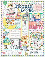 Nursery rhymes galore are depicted in this sweet and detailed Mother Goose Birth Record by designer Linda Gillum.