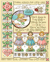 For My Daughter sampler is a detailed heirloom by Sandy Orton