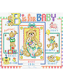 B is for Baby Sampler - PDF: 'B' For Baby's Birth Announcement! 'B'eloved 'B'aby wears 'B'ooties; chases 'B'unnies; plays with 'B'alloons; 'B'locks and 'B'ears; and 'B'ears take a 'B'ath of 'B'ubbles.