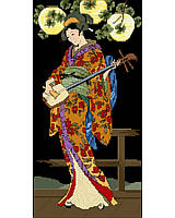 Oriental Beauty, this Geisha dressed in a sweeping kimono, playing her three stringed lute under Japanese lanterns.