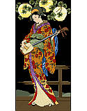 Kameko - PDF: Oriental Beauty, this Geisha dressed in a sweeping kimono, playing her three stringed lute under Japanese lanterns.