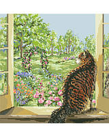 This delicate and beautiful window designed by Nancy Rossi brings the outside 'in' with lovely depictions of spring.