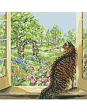 View of the Garden - PDF: This delicate and beautiful window designed by Nancy Rossi brings the outside 'in' with lovely depictions of spring.