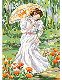 Out for a Stroll - PDF: This delicate and beautiful design is a bright addition to any room in any setting. With her beautiful gown, she takes a quiet stroll through the garden.