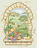 Tuscan View - PDF: Imagine peering out this window into the rolling hills. Stitched on 14 count ivory Aida, this amazing view comes to life by combining both full and half cross stitches to capture every detail.