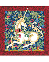 Our classic Cluny style unicorn design is based on classic medieval designs of the late 15th century. With rich red, blue, sage and gold tones, with a sumptuous border, this will be an elegant addition to any decor. Have a magical day everyday with this mythical and colorful design of vibrant cross stitch art. Would make an opulent pillow or framed artwork. A companion piece to our Tree Of Life design.