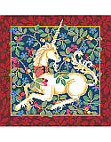 Unicorn - PDF: Our classic Cluny style unicorn design is based on classic medieval designs of the late 15th century. With rich red, blue, sage and gold tones, with a sumptuous border, this will be an elegant addition to any decor. Have a magical day everyday with this mythical and colorful design of vibrant cross stitch art. Would make an opulent pillow or framed artwork. A companion piece to our Tree Of Life design.