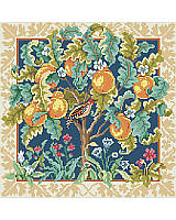 A classic Medieval Cluny style interpretation on a partridge in a pear tree is so elegant you will want to display it all year long. Rich, bold colors, a wide gold tone border and black center background, makes the elements of this abundant tree pop out of the picture. A companion piece to our Unicorn.