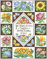 Stitch a garden of lovely blossoms with this springtime sampler.