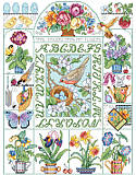 Spring Fever Sampler - PDF: Spring is Here! Spring showers, seed packs, hummingbirds and more. Our design is full of colorful renditions that will remind you of spring.  This sweet sampler is an enchanting way to celebrate the seasonal blessings of spring and summer.