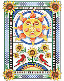 The Kiss of the Sun - PDF: Bring warmth and whimsy to ordinary walls with this vibrant sun and sunflower design.