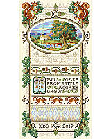 Our classic, original Acorn Sampler is here. With an oval pastoral scene surrounded by acorns, oak leaves, squirrels and a multitude of details, including petite point areas and 15 specialty stitches will surely be an heirloom piece. This coveted and intricate design is back to set the tone for gratitude with this rich autumn sampler and inspirational message. Perfect for the advanced stitcher or one who wants to learn new skills.