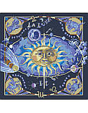 Celestial Zodiac - PDF: Whether you're an Aries or a Pisces, or anything in between, you're sure to love stitching this celestial design! The signs of the zodiac take on cosmic sparkle on this gold embellished blue and purple map of the heavens.