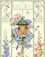 This delicate and beautiful greenhouse style design by Nancy Rossi brings the outside 'in' with lovely depictions of Roses, Clematis, Delphinium, Hollyhocks and more. Birds, frogs and insects flit and flutter about the classic and elegant birdhouse which is the focal point of this design.