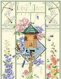 A Cottage Garden - PDF: This delicate and beautiful greenhouse style design by Nancy Rossi brings the outside 'in' with lovely depictions of Roses, Clematis, Delphinium, Hollyhocks and more. Birds, frogs and insects flit and flutter about the classic and elegant birdhouse which is the focal point of this design.