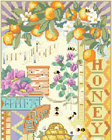 Honey bees frolic in this intricate design by Nancy Rossi.